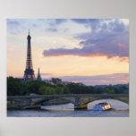 Francia, París, barco del viaje en el río el Sena, Póster