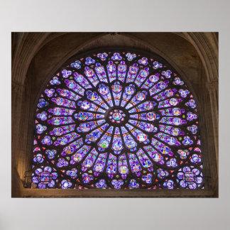 Francia, París. Detalle interior del vitral Póster