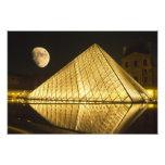 Francia, París, el museo del Louvre, noche Fotografias