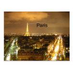 Francia París en la torre Eiffel de la noche (por  Tarjetas Postales