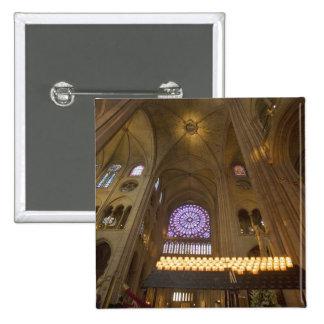 Francia, París. Interior de la catedral de Notre D Pin Cuadrada 5 Cm
