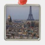 Francia, París, paisaje urbano con la torre Eiffel Adorno Cuadrado Plateado