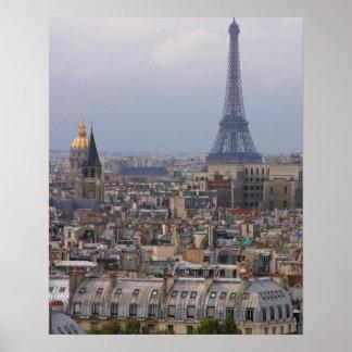 Francia, París, paisaje urbano con la torre Eiffel Póster