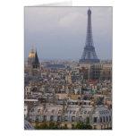 Francia, París, paisaje urbano con la torre Eiffel Tarjeta De Felicitación