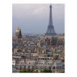 Francia, París, paisaje urbano con la torre Eiffel Postal