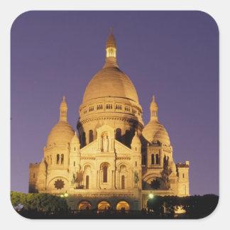 Francia, París, Sacré-Coeur en la oscuridad Colcomanias Cuadradas Personalizadas
