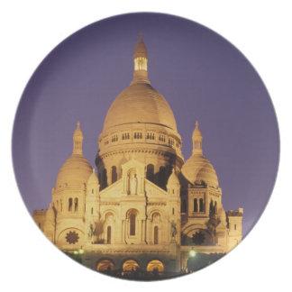 Francia París Sacré-Coeur en la oscuridad Platos Para Fiestas
