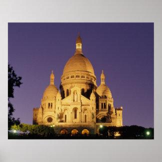 Francia, París, Sacré-Coeur en la oscuridad Póster