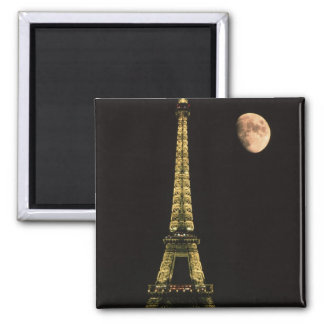 Francia, París. Torre Eiffel en la noche con Imán Cuadrado