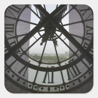 Francia, París. Visión a través de río Sena a trav Pegatina Cuadradas