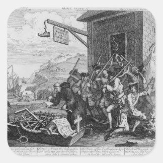 """Francia, placa I """"de la invasión"""", 1756 Pegatina Cuadrada"""