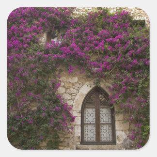Francia, Provence, Eze. Rosa brillante Pegatina Cuadrada