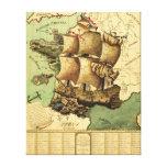 Francia representó como mapa de ShipPanoramic Lona Estirada Galerías
