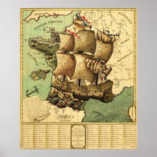Francia representó como mapa de ShipPanoramic Impresiones