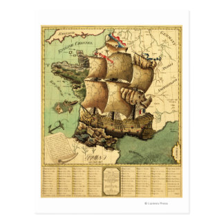 Francia representó como mapa de ShipPanoramic Postales