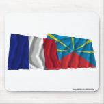 Francia y banderas que agitan propuestas de Réunio Tapete De Raton