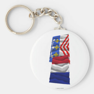 Francia y Eure-et-Loir que agitan banderas Llavero Redondo Tipo Pin
