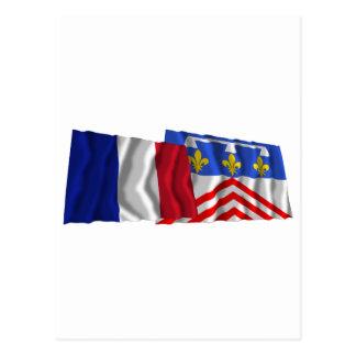 Francia y Eure-et-Loir que agitan banderas Postales