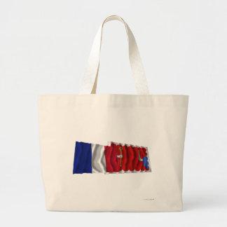 Francia y Haute-Loire que agitan banderas Bolsa De Mano