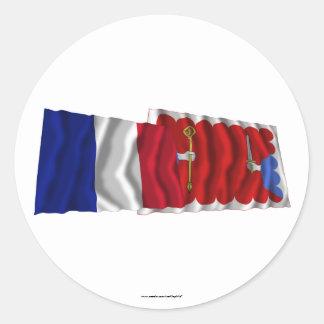 Francia y Haute-Loire que agitan banderas Pegatina Redonda
