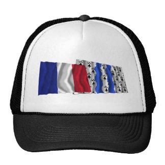 Francia y Ille-et-Vilaine que agitan banderas Gorros Bordados