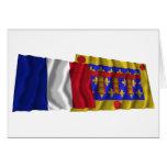 Francia y Pas-de-Calais que agitan banderas Tarjeta De Felicitación