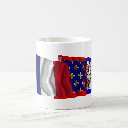 Francia y Pays-de-la-Loire que agitan banderas Tazas De Café