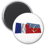 Francia y Seine-Saint-Denis que agitan banderas Iman De Nevera