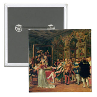 Francis I  Receiving a painting of the Holy 2 Inch Square Button