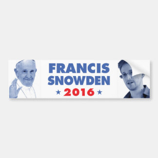 Francis Snowden 2016 bumper sticker Car Bumper Sticker