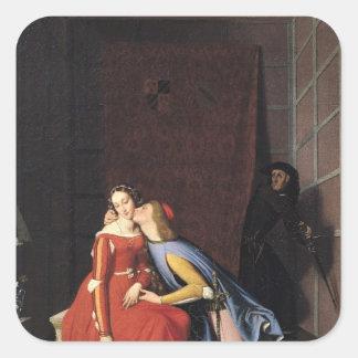 Francisca DA Rímini y Paolo Malatesta, 1819 Pegatina Cuadrada
