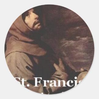 Franciscano intenso del regalo de St Francis Pegatina Redonda
