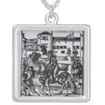 Francisco Alvarez on horseback Square Pendant Necklace
