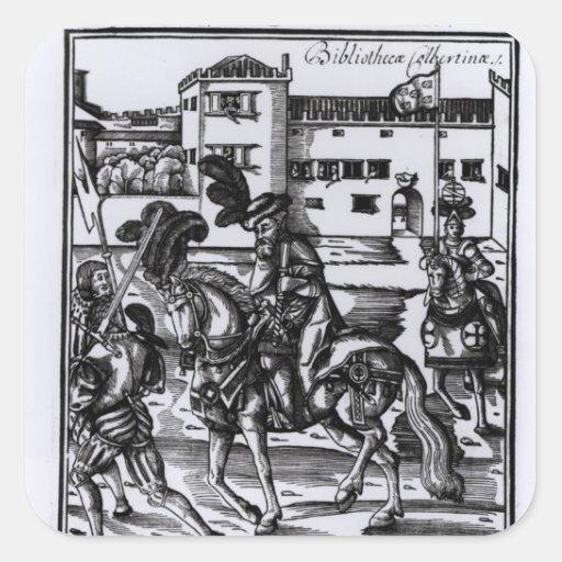 Francisco Alvarez on horseback Square Sticker