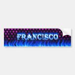 Francisco blue fire and flames bumper sticker desi car bumper sticker