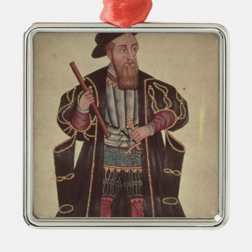 Francisco de Almeida, illustration Square Metal Christmas Ornament