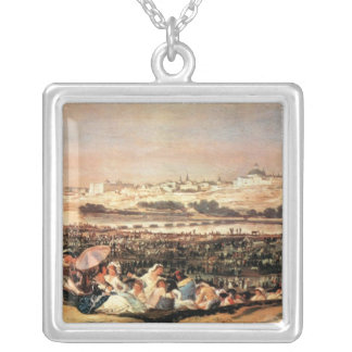 Francisco de Goya - Folk Festival at the San Isidr Personalized Necklace