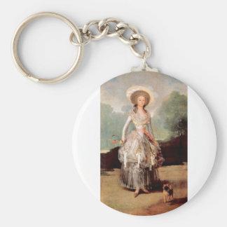Francisco de Goya - Portrait of Marquesa de Pontej Basic Round Button Keychain