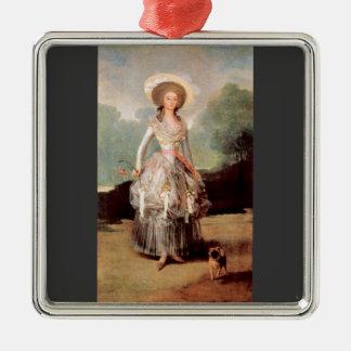 Francisco de Goya - Portrait of Marquesa de Pontej Square Metal Christmas Ornament