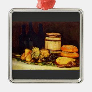 Francisco de Goya - todavía vida Adorno Cuadrado Plateado