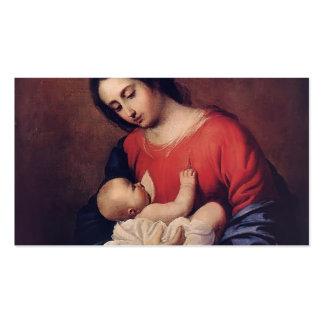 Francisco de Zurbaran- Madonna con el niño Plantilla De Tarjeta De Negocio