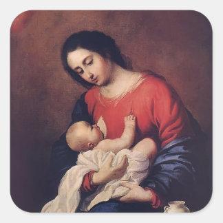 Francisco de Zurbaran- Madonna with Child Square Sticker
