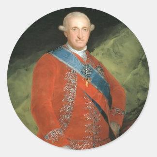 Francisco Goya- Portrait of Charle IV of Spain Classic Round Sticker