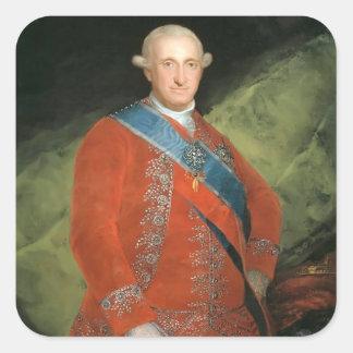 Francisco Goya- Portrait of Charle IV of Spain Square Sticker