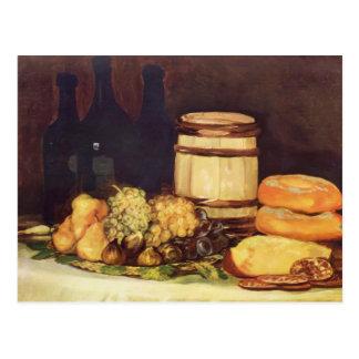 Francisco Goya- Still life fruit, bottles, breads Postcard