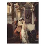 Francisco Hayez- el beso pasado de Romeo y de Juli Tarjeta Postal