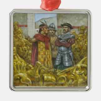 Francisco Pizarro next to Inca Emperor Atahualpa Square Metal Christmas Ornament