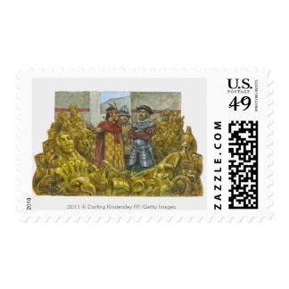Francisco Pizarro next to Inca Emperor Atahualpa Stamp