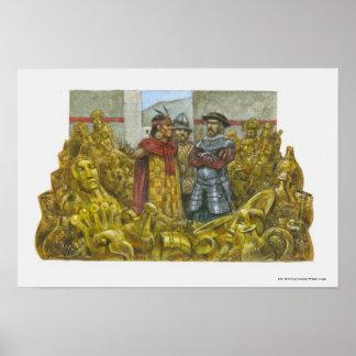 Francisco Pizarro next to Inca Emperor Atahualpa Poster