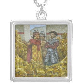 Francisco Pizarro next to Inca Emperor Atahualpa Silver Plated Necklace